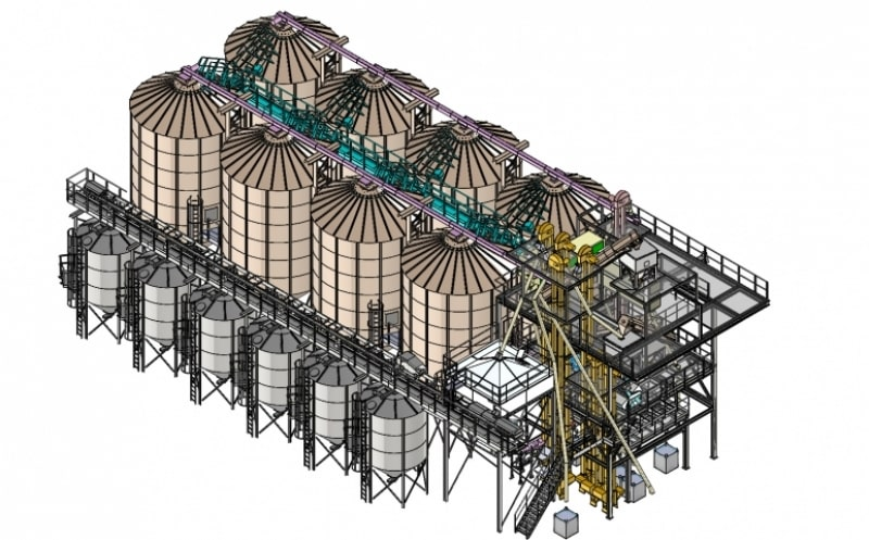 plan 3d de 3 lignes silos fond conique avec chaine de tri