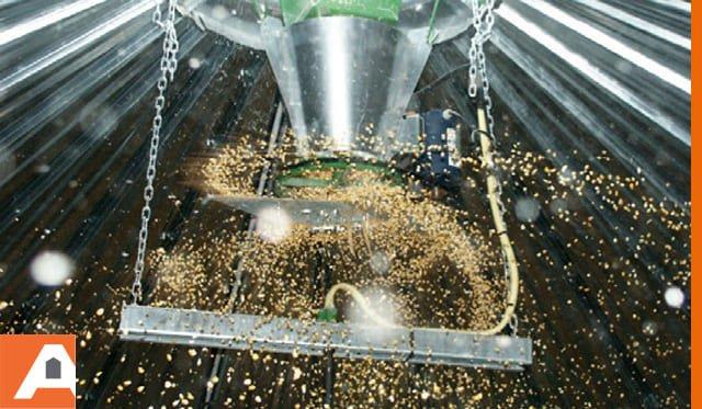 répartiteur à grain dans cellule sécheuse