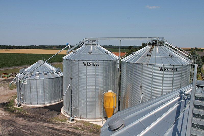 une cellule sécheuse avec vis de transfert sur deux silos de stockage à céréales
