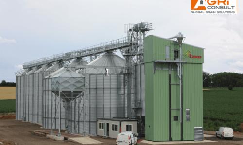 silos à grains avec séchoir à maïs LAW élévateurs à godets et convoyeurs à chaîne