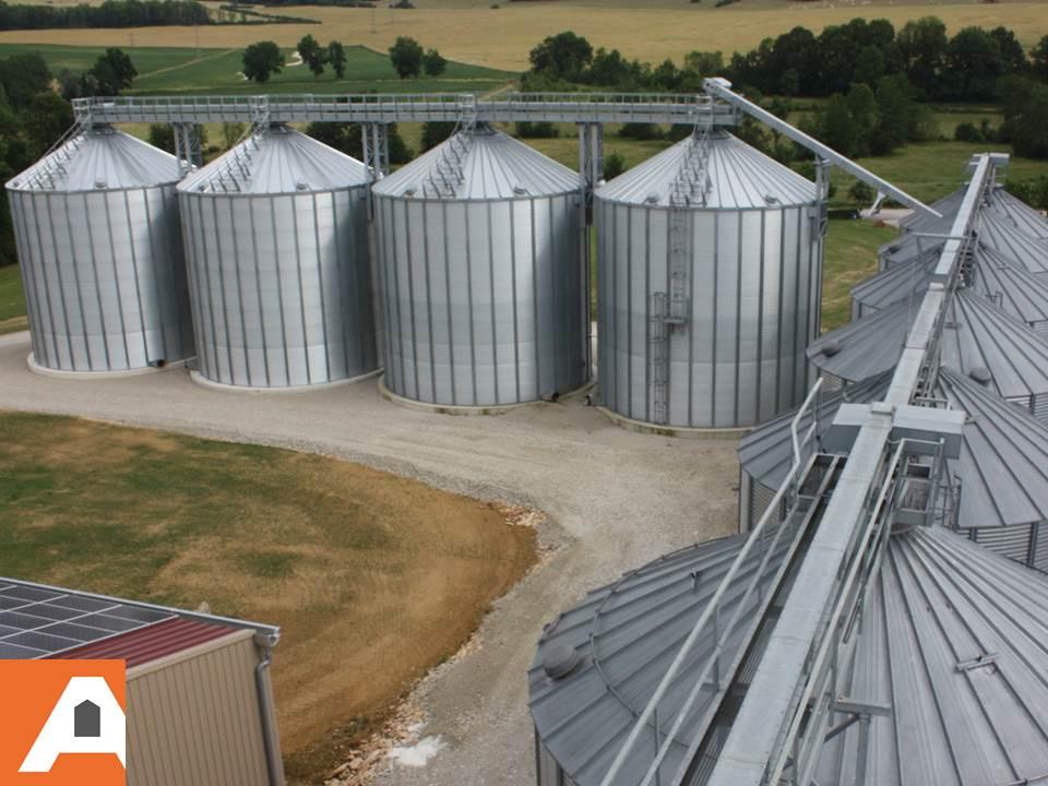 deux rangées de silos a grains perpendiculaires agriconsult